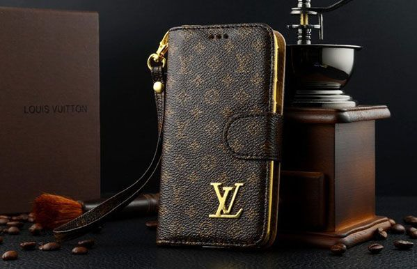 Louis Vuitton Iphone  Case Wallet Leather Brown