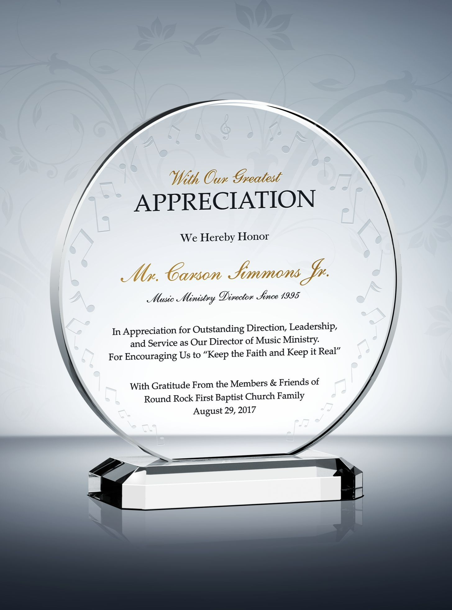Music Ministry Appreciation Plaque Music Ministry Gifts