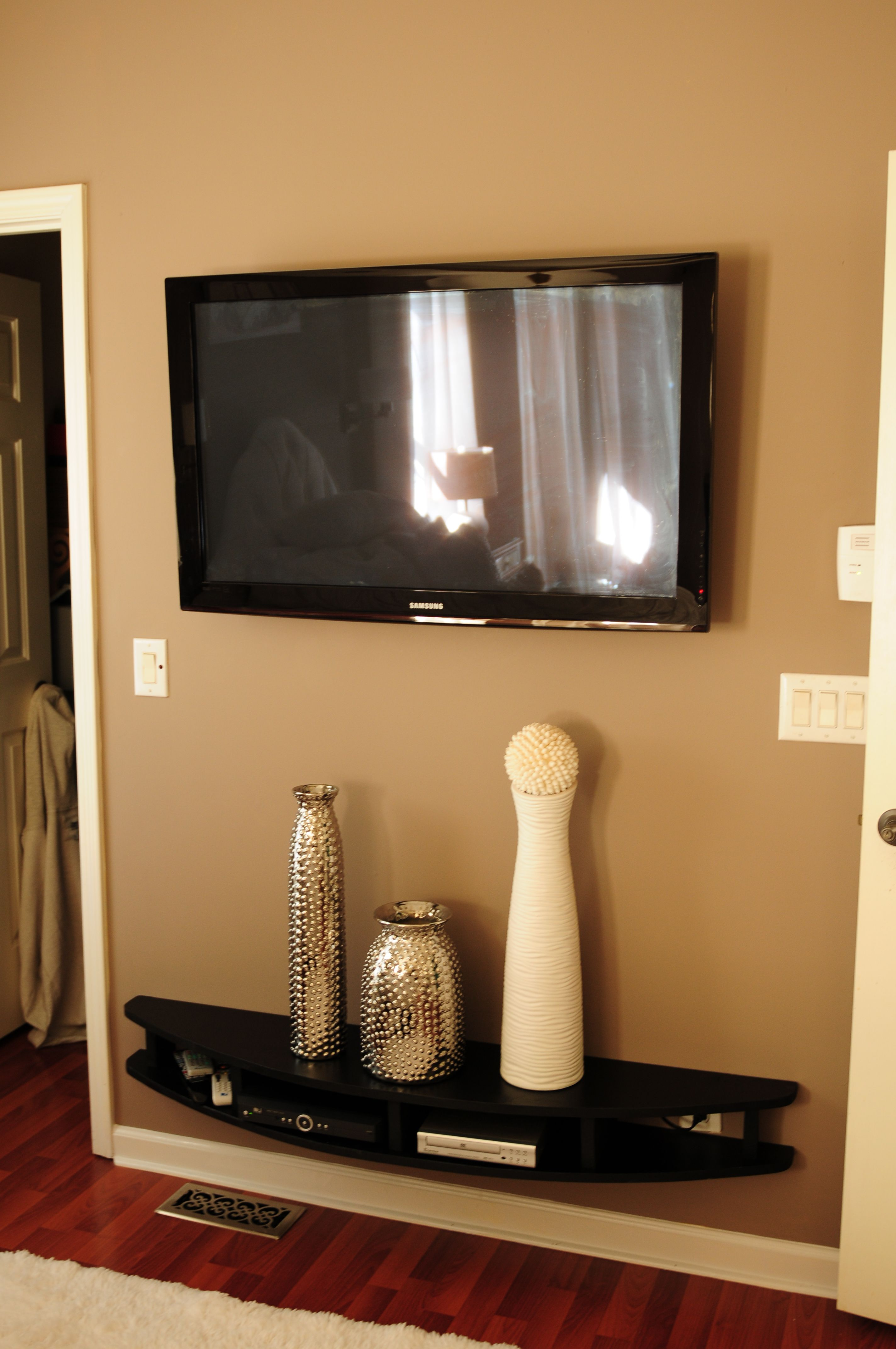 Shelves To Go Under Wall Mounted Tv Hubby Built Modern Shelves To Wall Mount Under Tv He Is