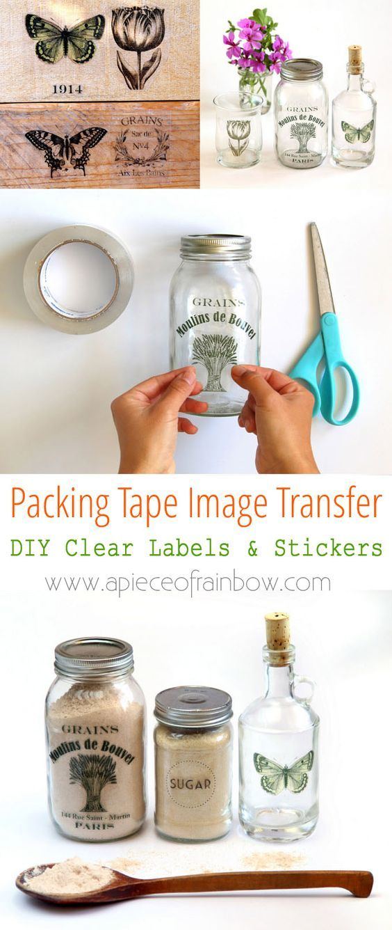 Make clear stickers using an easy packing tape image transfer method great for pantry labels