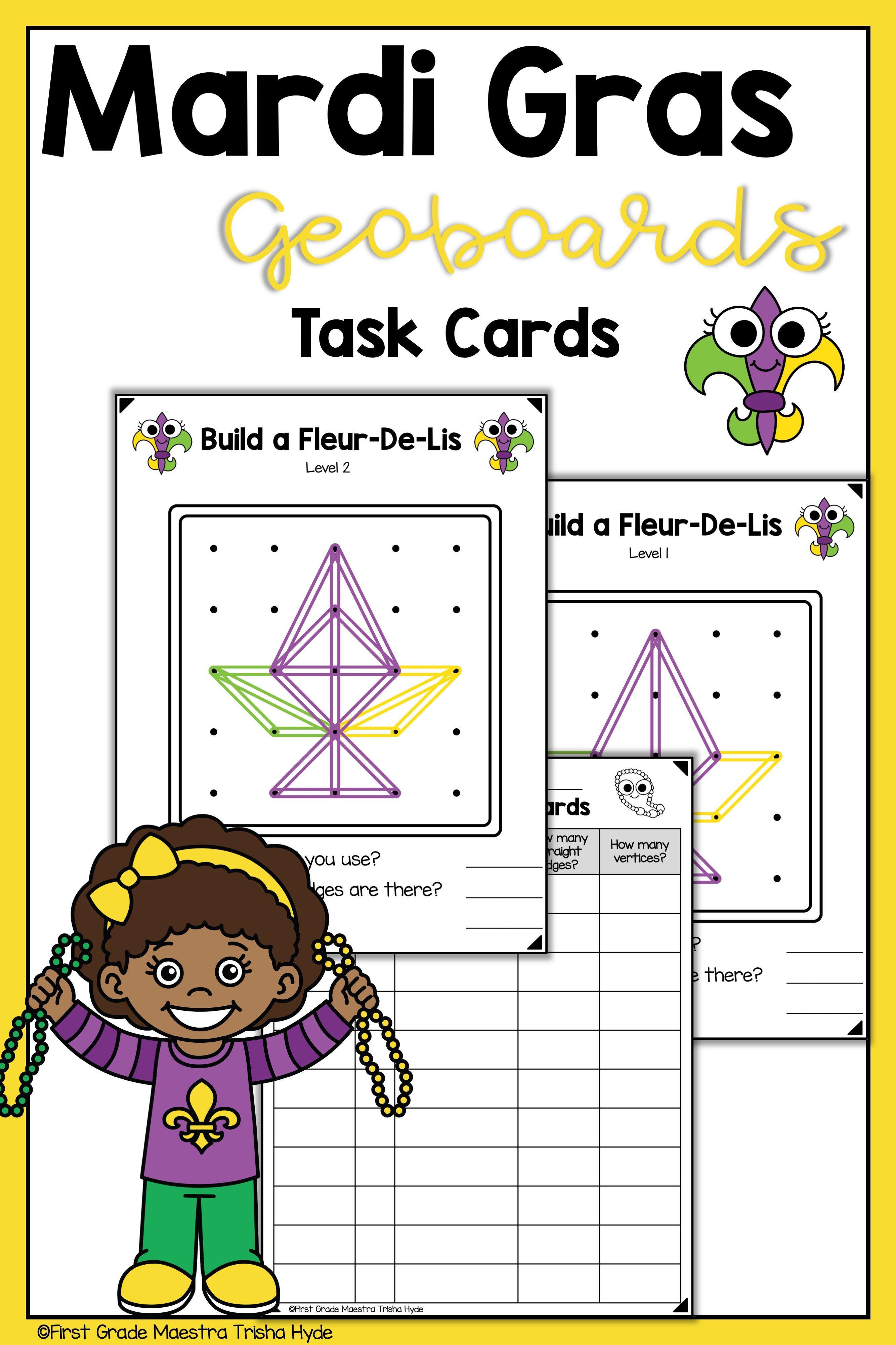 Mardi Gras Geoboard Task Cards