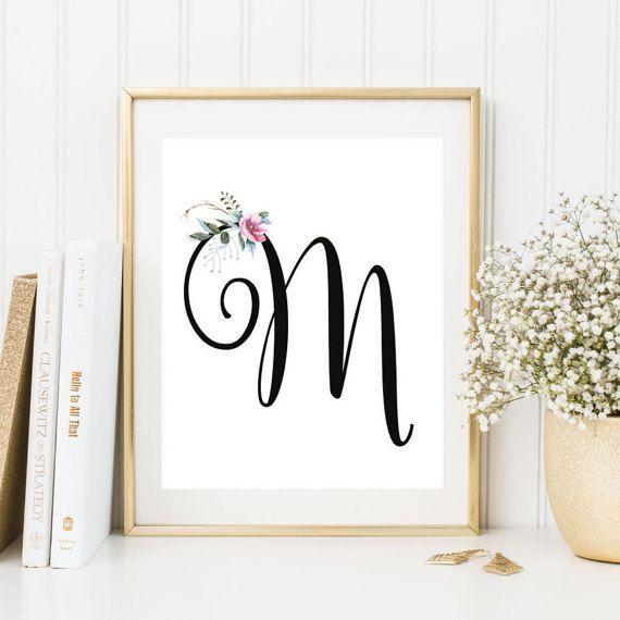 Nursery Monogram M Letter Art Decor By Flartfantasy