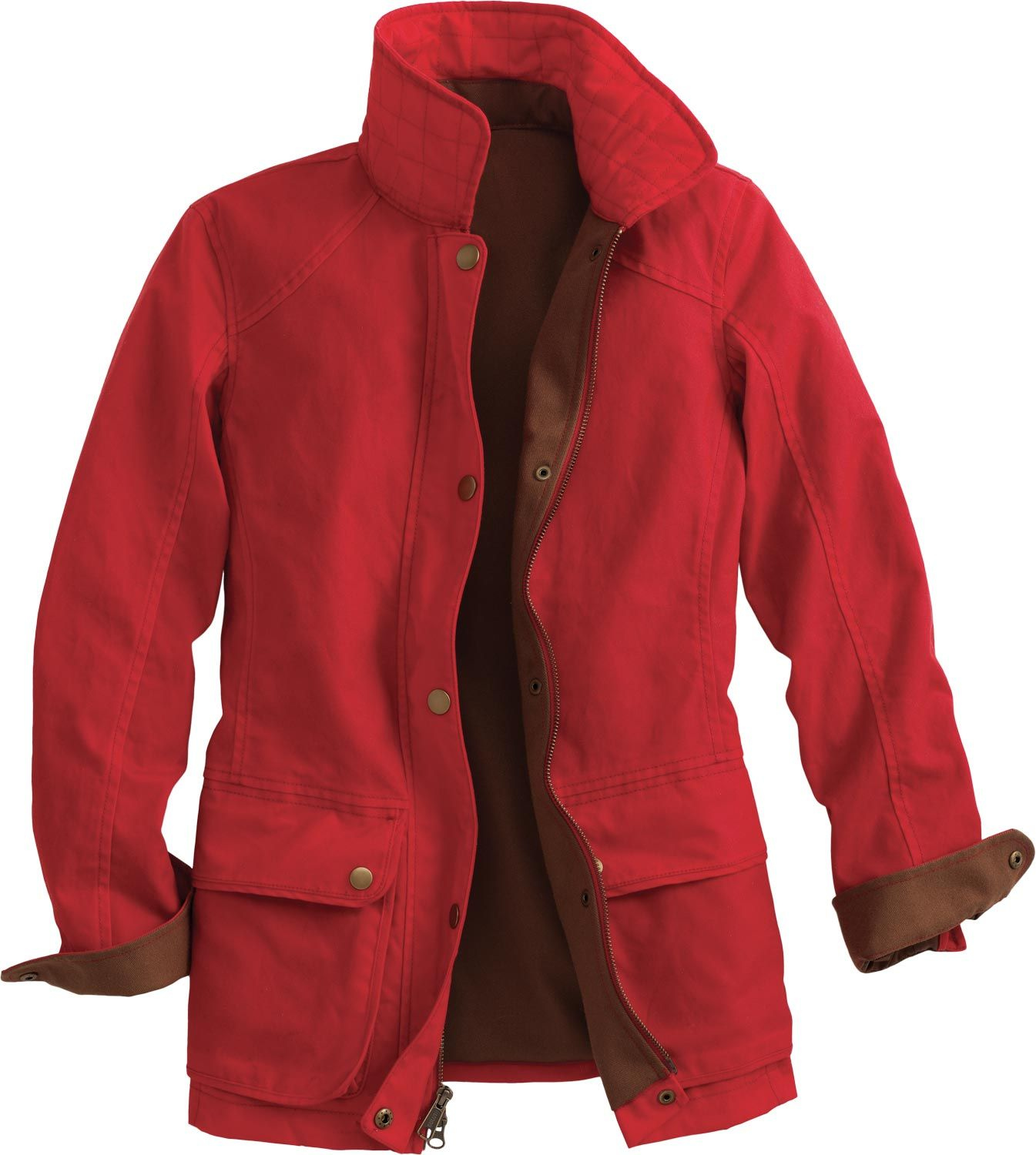 Duluth waxed cotton rain jacket, red