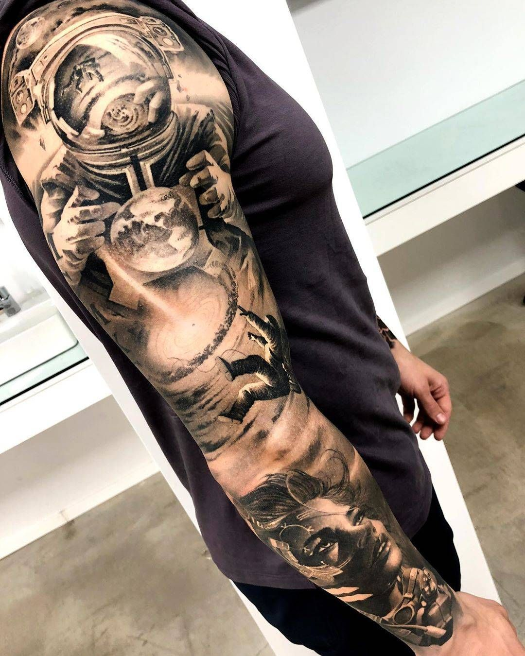 Matias Noble S Black And Grey Realistic Tattoo Space Tattoo Sleeve Tattoo Sleeve Designs Realistic Tattoo Sleeve