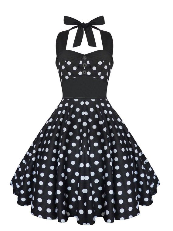 237dd6782f7 Rockabilly Dress Pin Up Dress Black Polka Dot Plus Size Dress Vintage 50s  Retro Gothic Clothing Loli