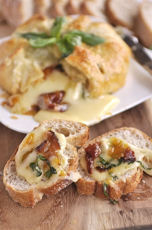 Basil, Bacon & Peach Baked Brie - Thanksgiving app while waiting on that damn turkey to bake or fry or whatever!!!