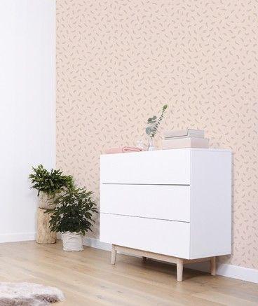 Papel pintado original y bonito en tonos coral para dar un toque especial a la habitación infantil - Minimoi