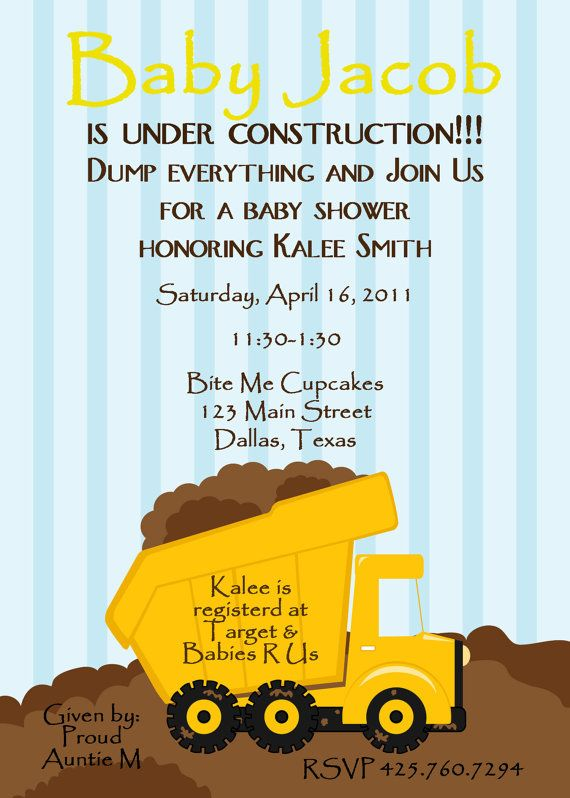 baby shower invitation  baby under construction  digital, Baby shower invitation