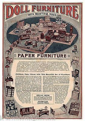 NEEDLECRAFT PAPER DOLL HOUSE FURNITURE MAINE ANTIQUE GRAPHIC ADVERTISING PRINT