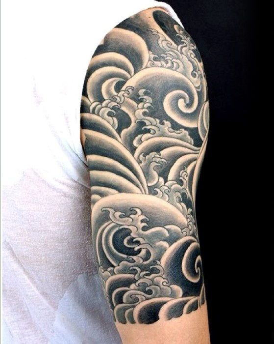 Cool Old School Waves Japanese Half Sleeve Tattoo Ideas For Guys Half Sleeve Tattoos For Guys Wave Tattoo Sleeve Tattoo Sleeve Designs