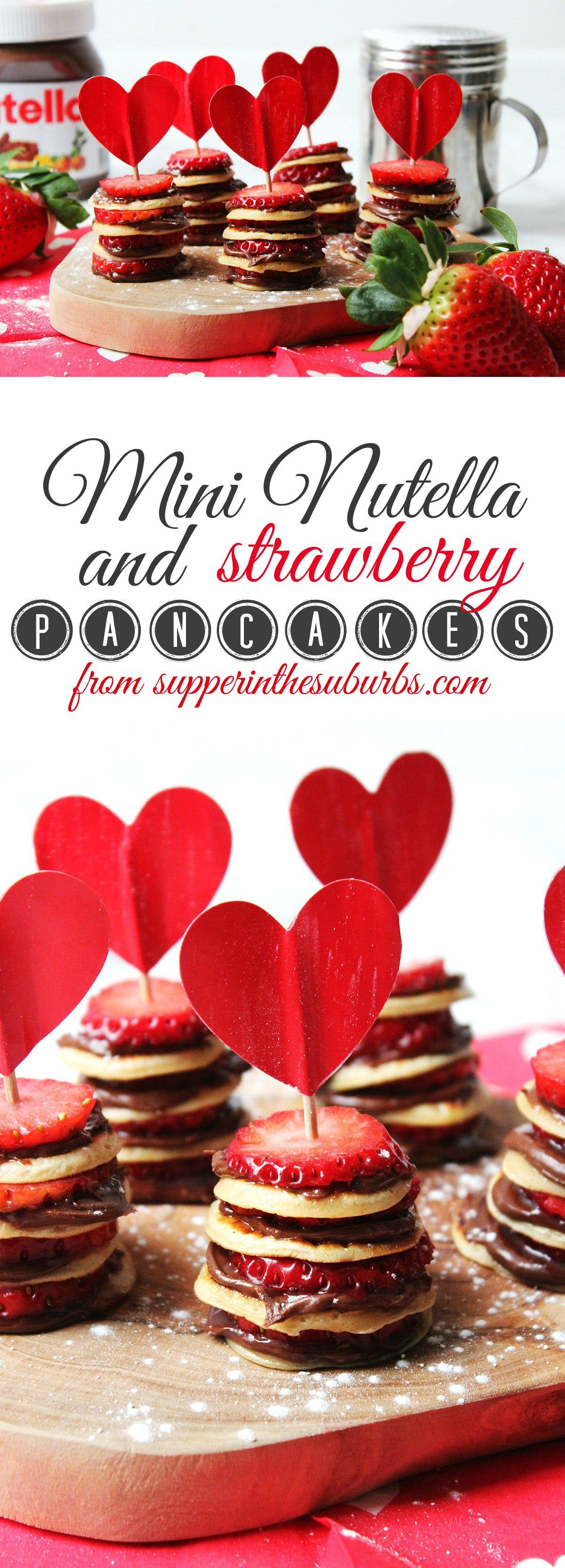 These Mini Nutella and Strawberry Pancake Stacks are perfect for pancake day, valentines day, a birthday treat or, just because! Get the recipe at Supper in the Suburbs