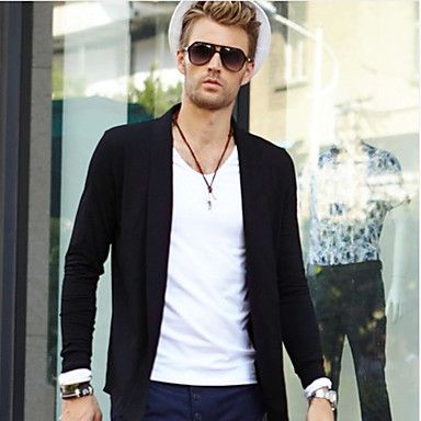 Menn Langermet Big Wave Of Retro Mens Coat Cardigan Jackets T skjorte