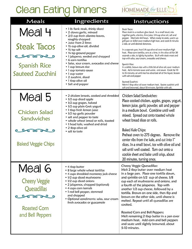 Clean Eating Meal Plan One Week Of Meals With Shopping List And Recipes Download The Pdf Free Includes Breakfast Lunch Snack Dinner