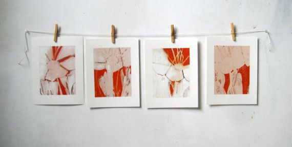 8x10 Fine Art Prints, Set of 4, PARASOL SERIES, From Original Paintings By Leah Rainey,  Ready to Frame