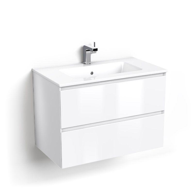 Cordoue, Meuble salle de bain 81 cm blanc brillant, vasque céramique
