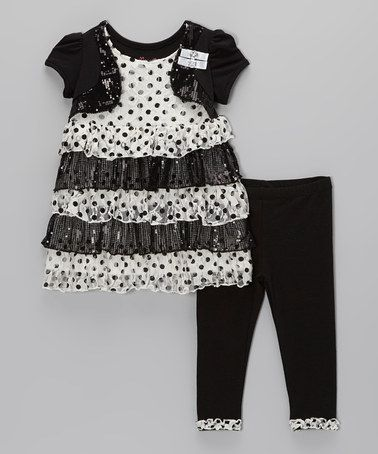 White Polka Dot Tiered Ruffle Tunic Set - Toddler by Nannette #zulily #zulilyfinds $11.99