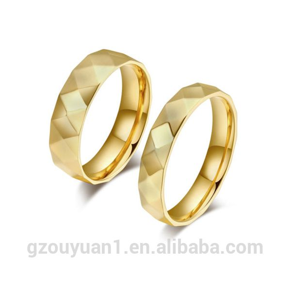 Faceted Diamond Gold Stainless Steel Couples Promise Wedding Engagement Rings Gift Band Rings