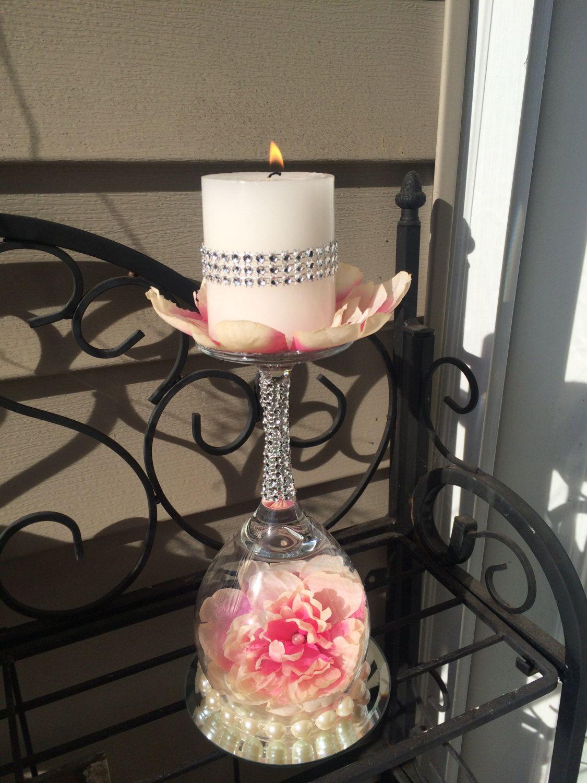 Wine glass candlestick