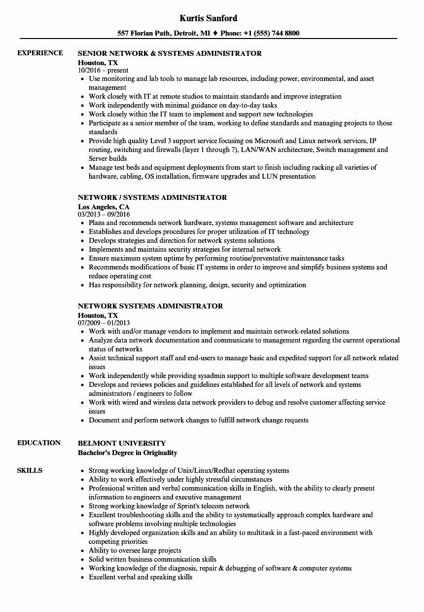 System Admin Resume Example New Network Systems
