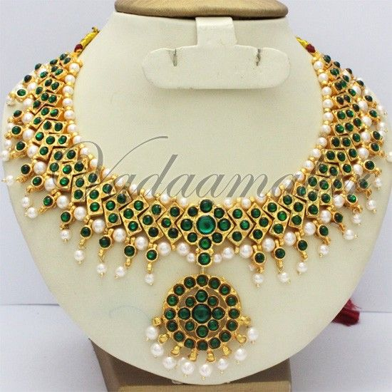 Green Traditional Indian Temple Jewellery Designs Necklace