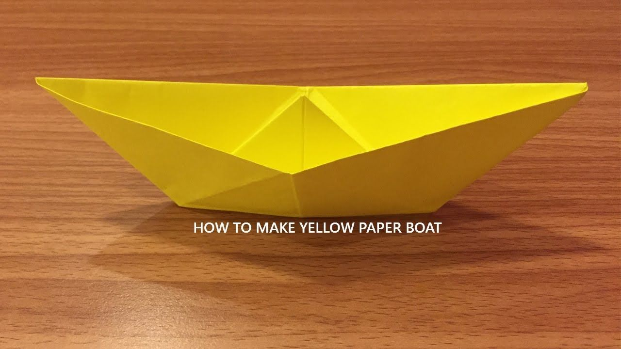 Yellow paper art how to make paper boat origami folds