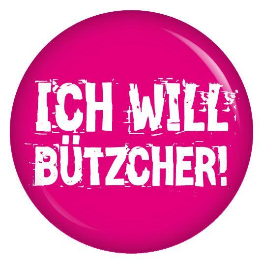 Button Ich will Bützcher / pink