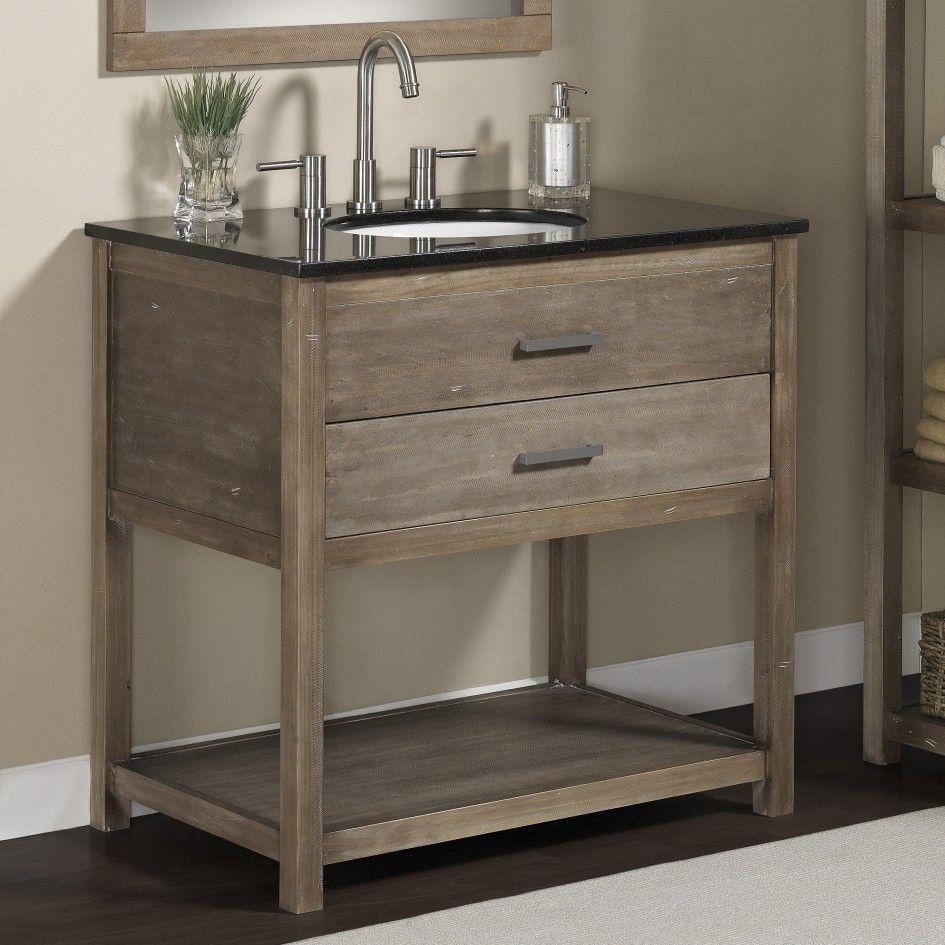 Bathroom Solid Wood 24 Inch Granite Top Single Sink