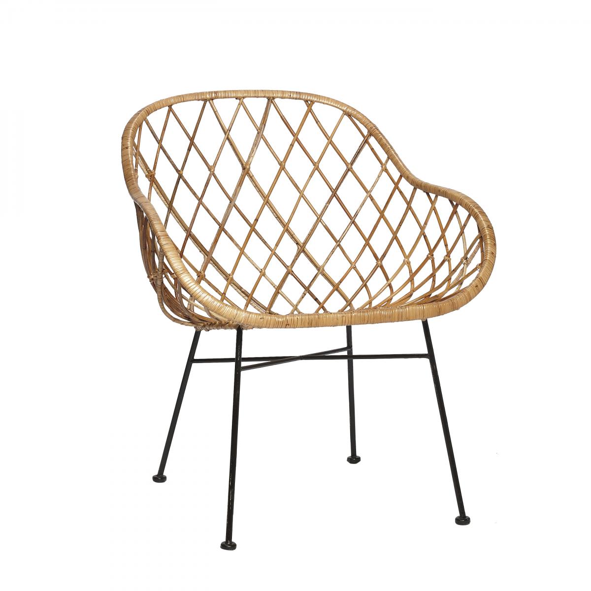 Chaise En Rotin Naturel Losanges Avec Accoudoirs65x66xh77cm Hubsch Rattan Chair Rattan Armchair Rattan Lounge Chair