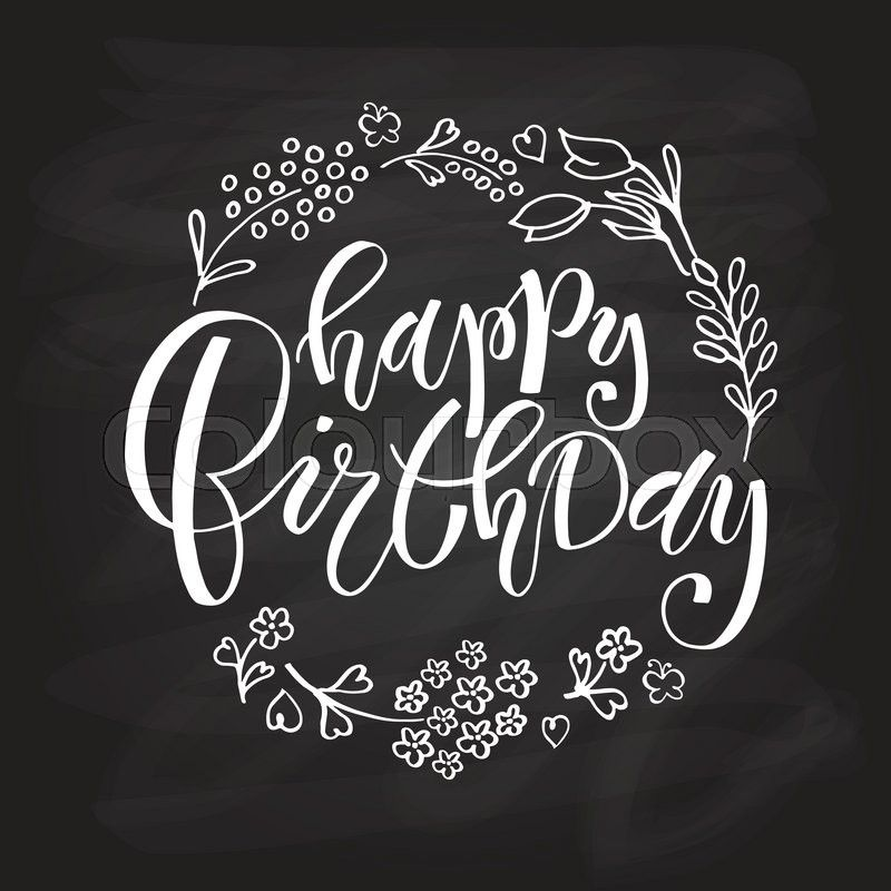 Happy Birthday Postcard Card Invitation Flyer Banner Template Lettering Typography Greetings