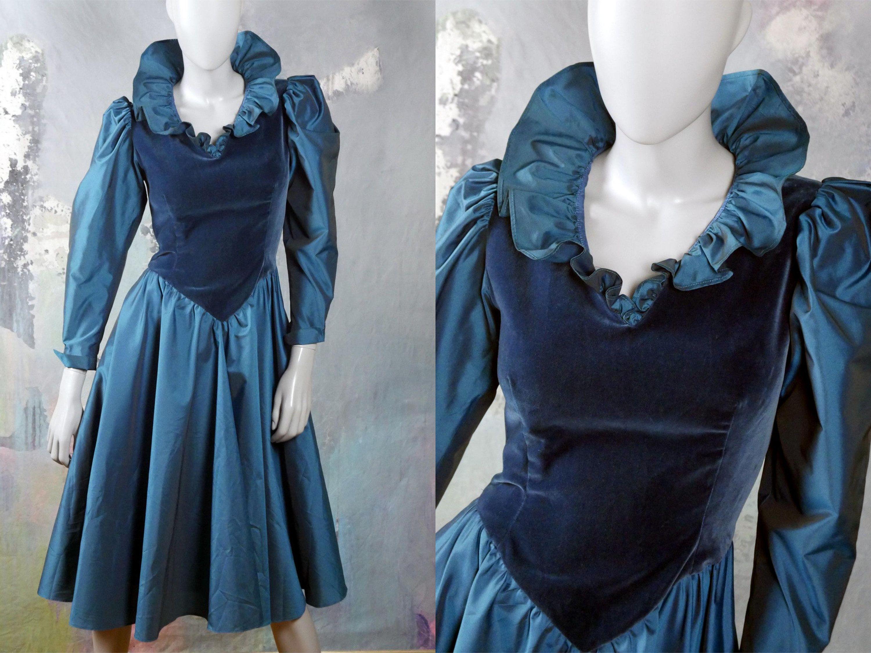 S satin u velvet evening dress peacock blue german vintage prom