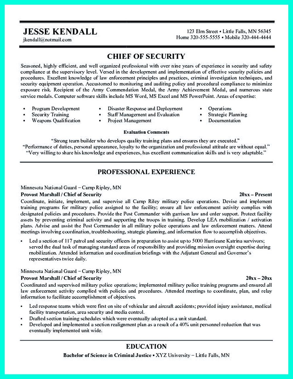 cyber security resume must be well created to get the job position as what you want