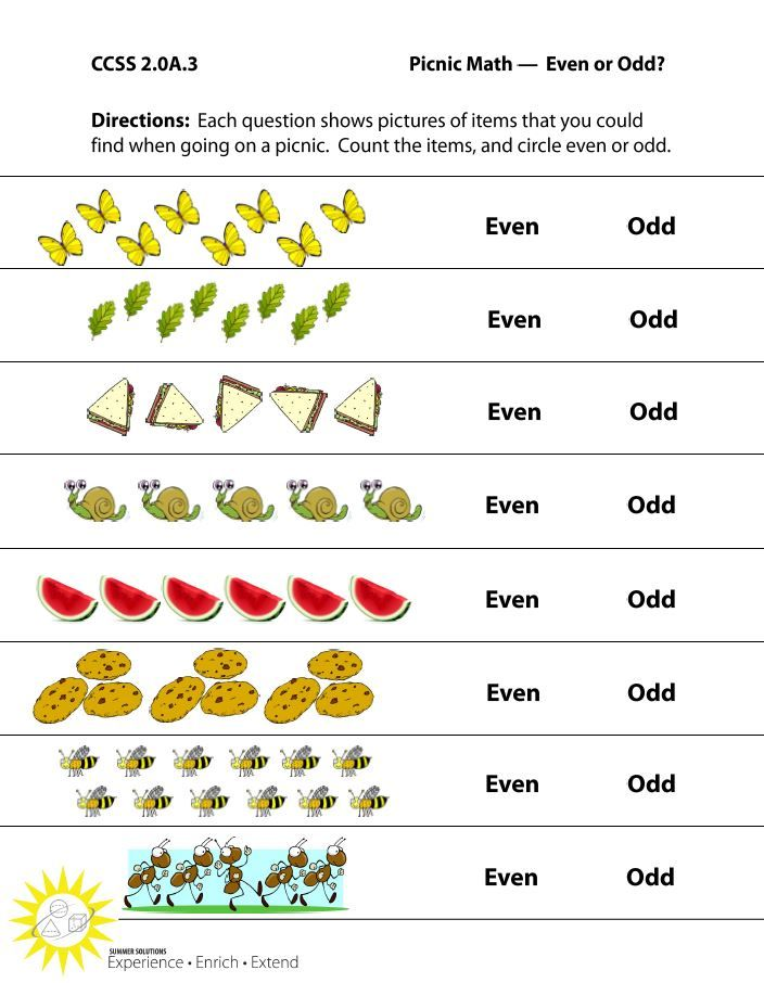 http://summersolutions.net/blog/plan-a-picnic/ CCSS 2.OA.3 worksheet ...