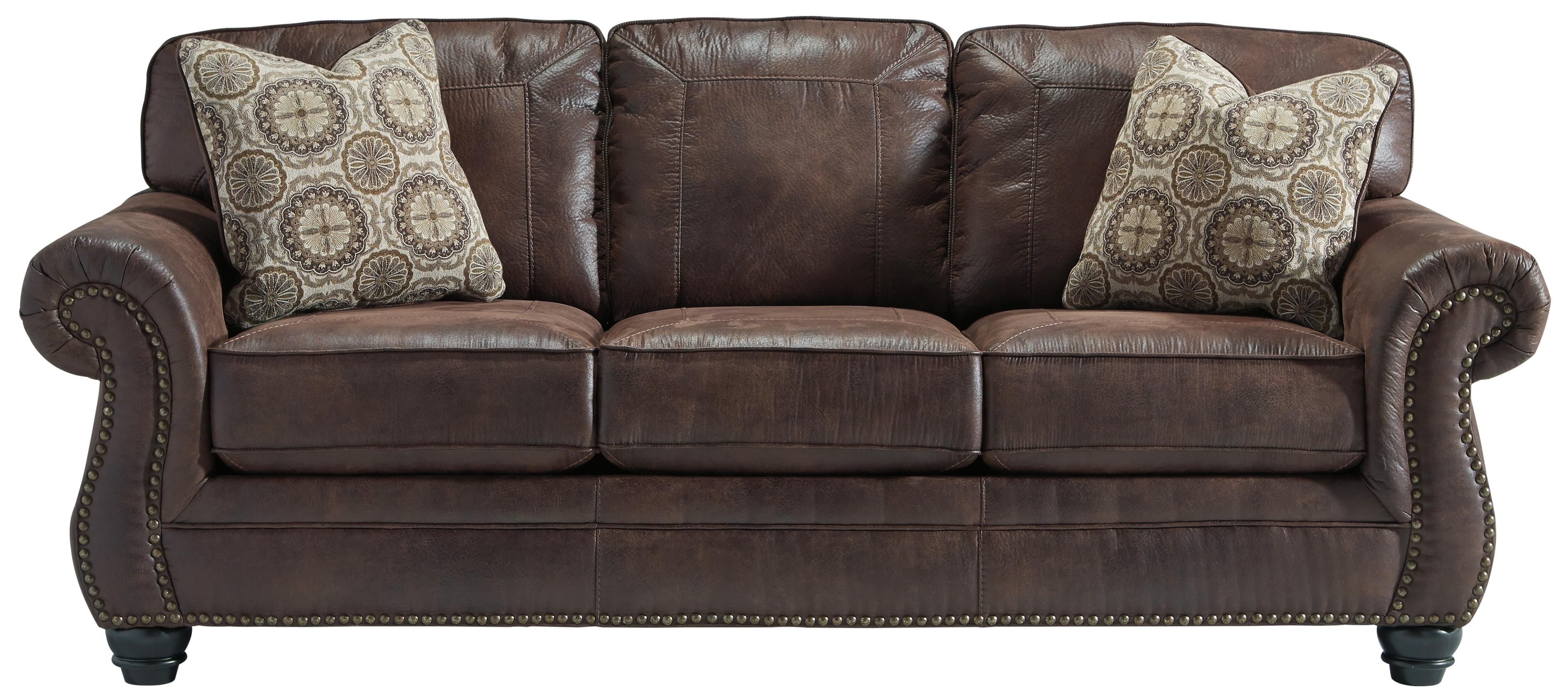 Breville Faux Leather Sofa with Rolled Arms and Nailhead