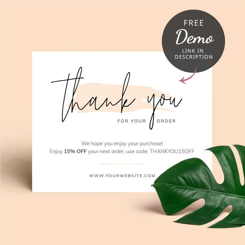 Business Thank You Card Template Editable Thank You For Order Etsy In 2021 Thank You Card Template Business Thank You Customer Thank You Note