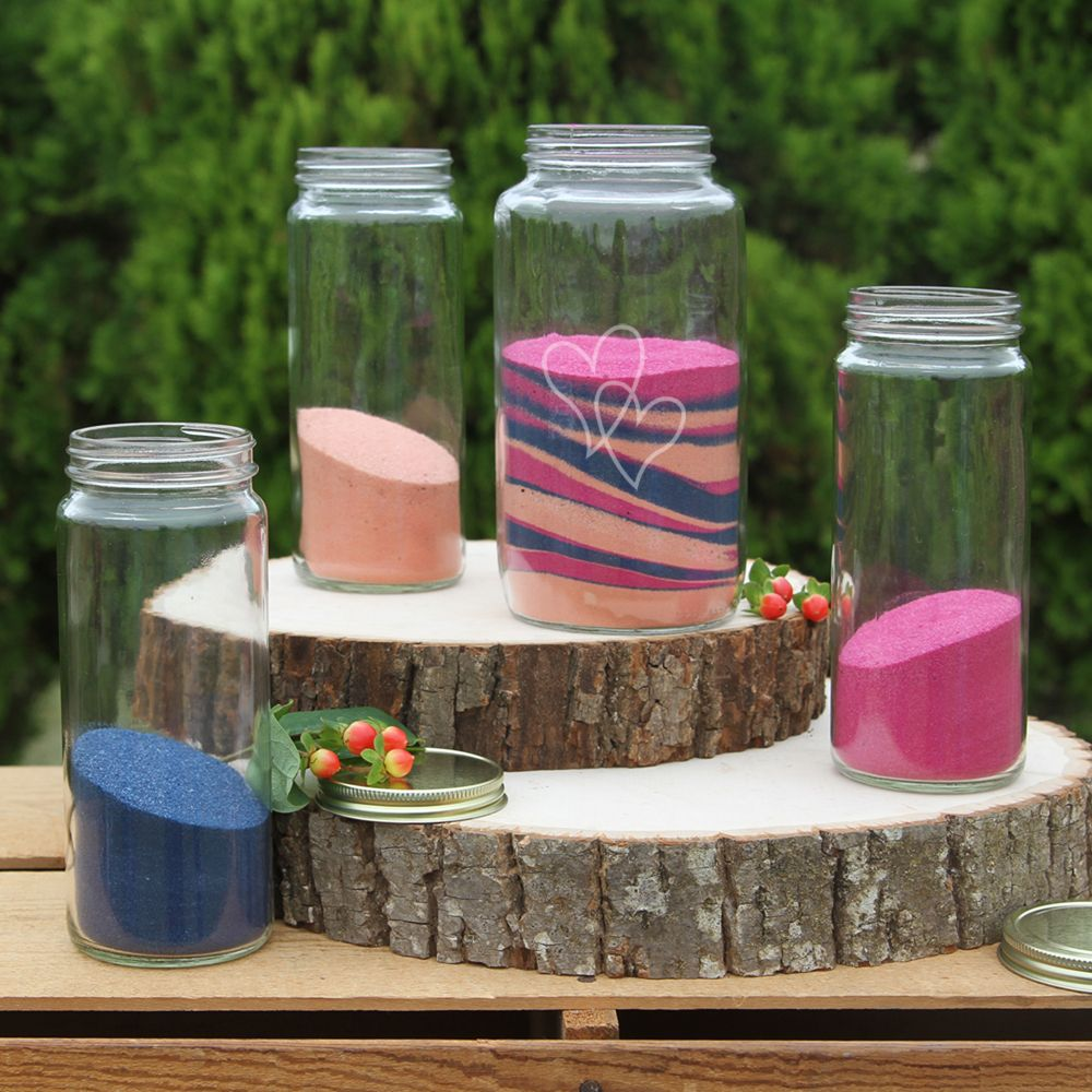Beach wedding sand ceremony sets  Introducing the New Double Heart Mason Jars Sand Ceremony only