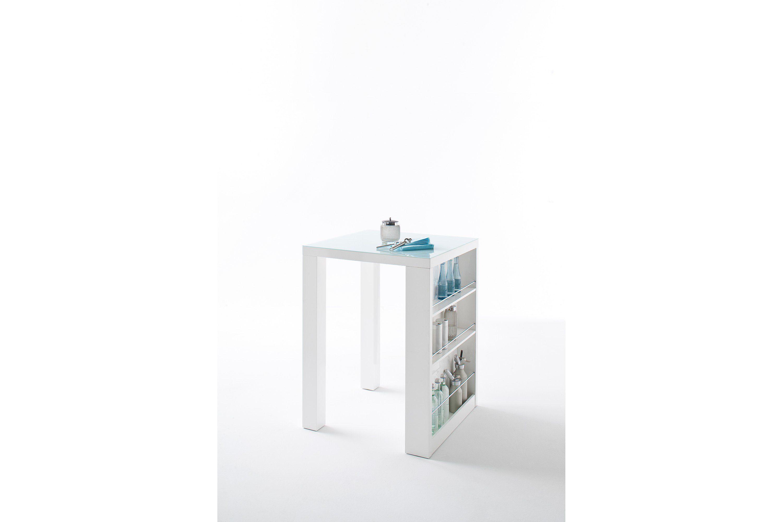Baaripöytä Club Valkoinen korkeakiilto/Lasi