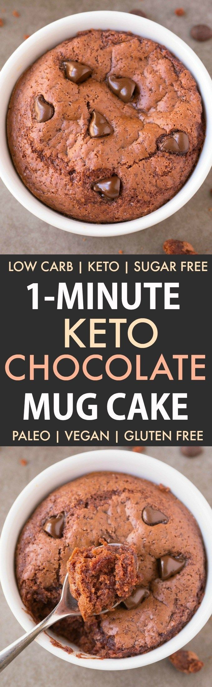 1-Minute Keto Chocolate Mug Cake (Paleo, Vegan, Sugar Free ...