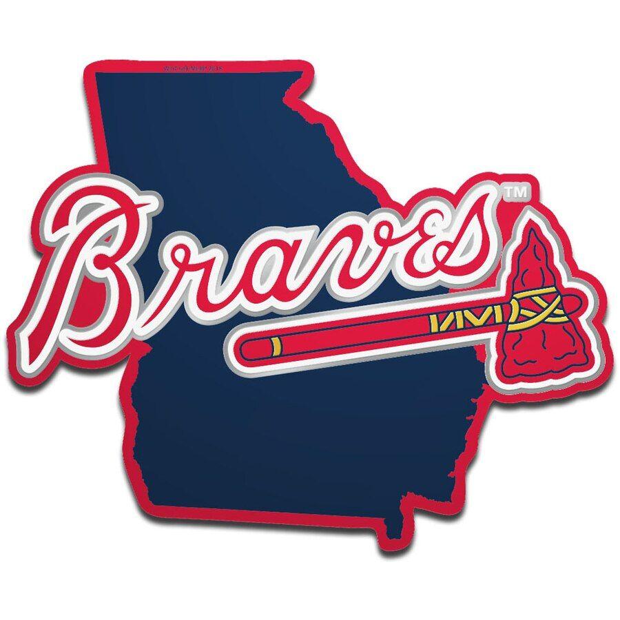 Atlanta Braves Wincraft Metallic State Shape Acrylic Auto Emblem Atlanta Braves