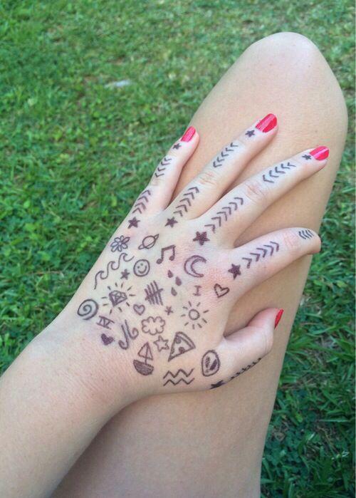 Рисунки из маркера на руке