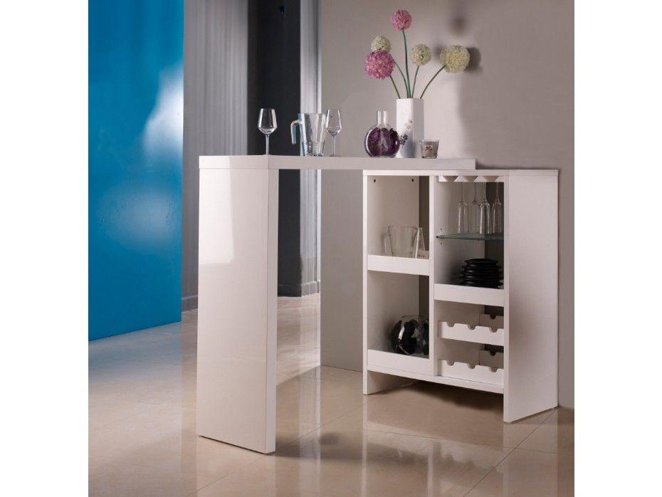 Meuble de bar extensible FIZZ II - MDF laqué - Blanc Kitchen - peindre un meuble laque blanc
