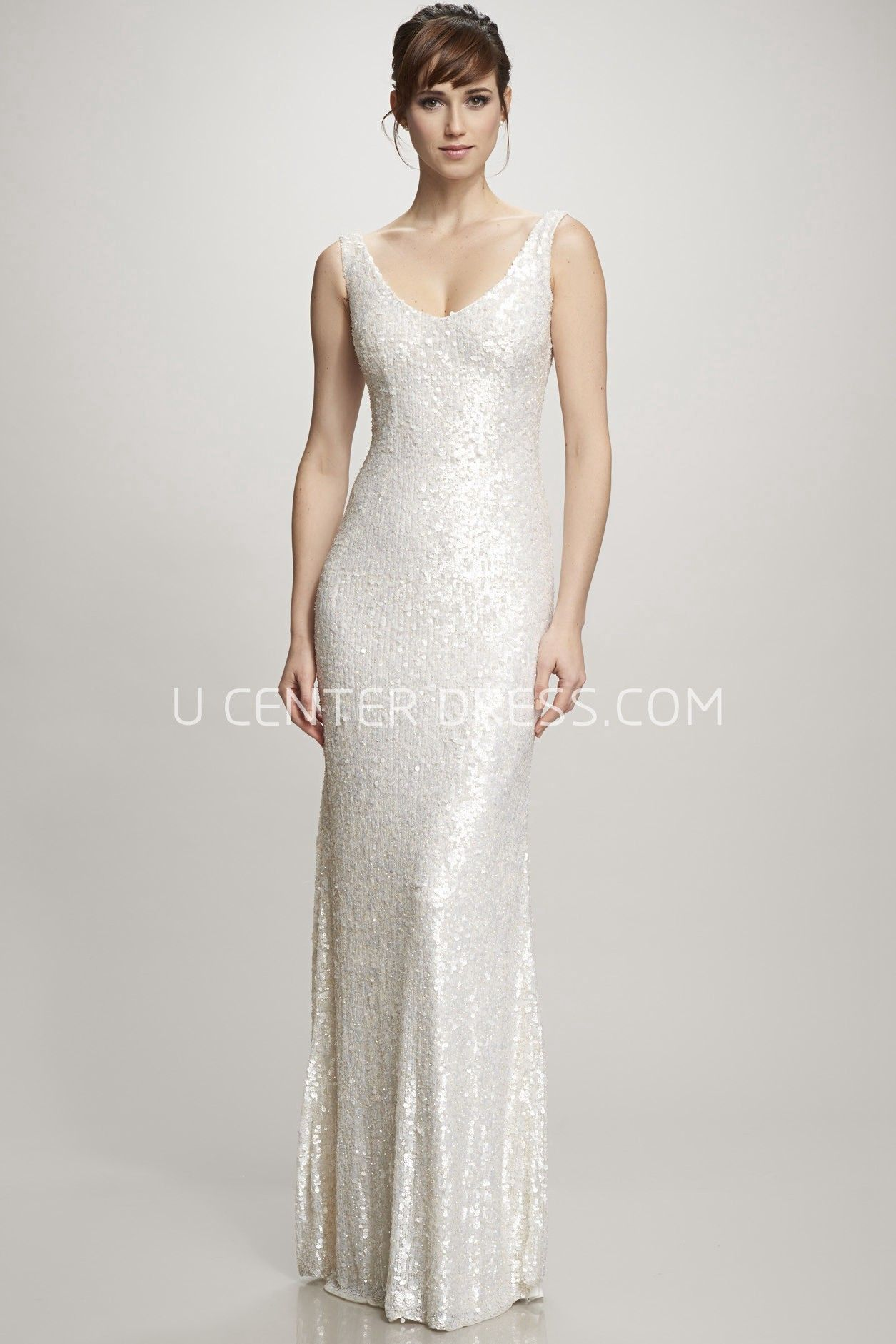 Floor-Length V-Neck Sequins Wedding Dress With Brush Train And V ...