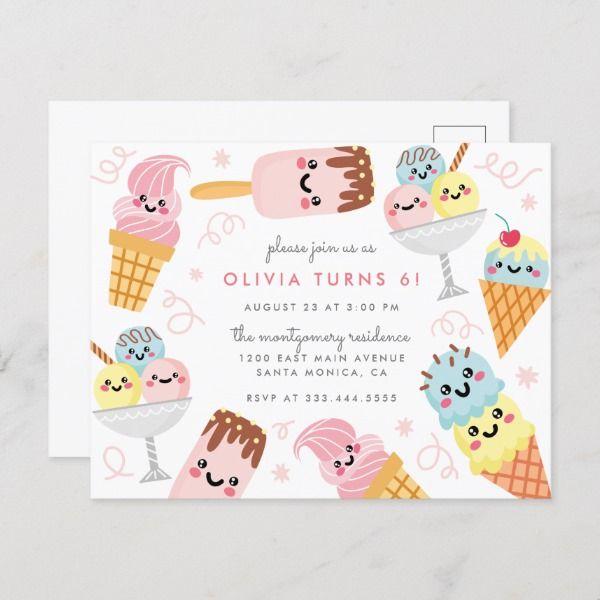 Cute Pastel Ice-cream Kid's Birthday Party Invitation Postcard | Zazzle.com #icecreambirthdayparty