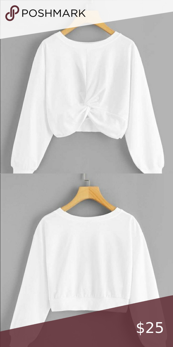 White Crop Top Sweatshirt.