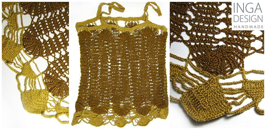 Hand made crochet Bruge lace strap top in brown and gold. INGA Design http://www.inga-design.com/shop/product_info.php?products_id=106&osCsid=5bbf542535ea2c8036138252e59620d6