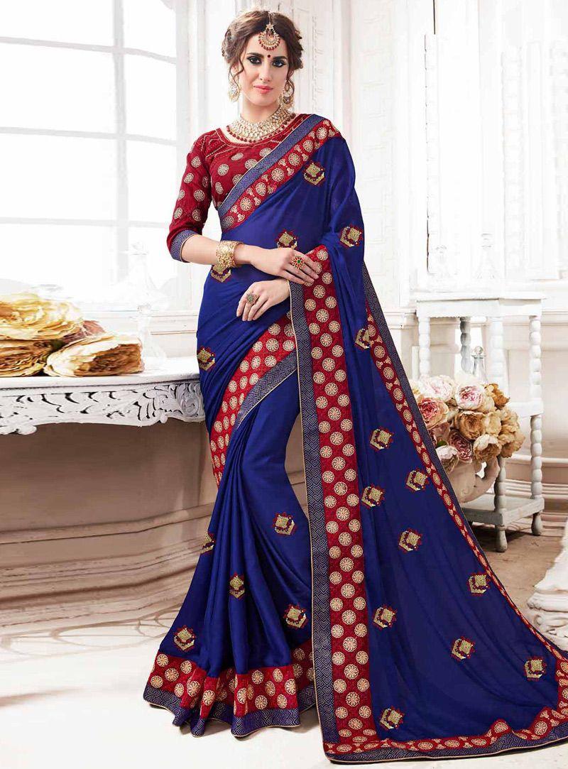 8d0d507342 Blue Georgette Festival Wear Saree 131589. Blue Georgette Festival Wear  Saree 131589 Indian Designer Sarees ...
