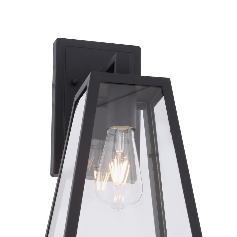 Home Decorators Collection Colonade Collection 1 Light Sand Black Outdoor Wall Lantern Sconce With Clear Glass 17702 The Home Depot In 2020 Outdoor Wall Lantern Wall Lantern Outdoor Walls