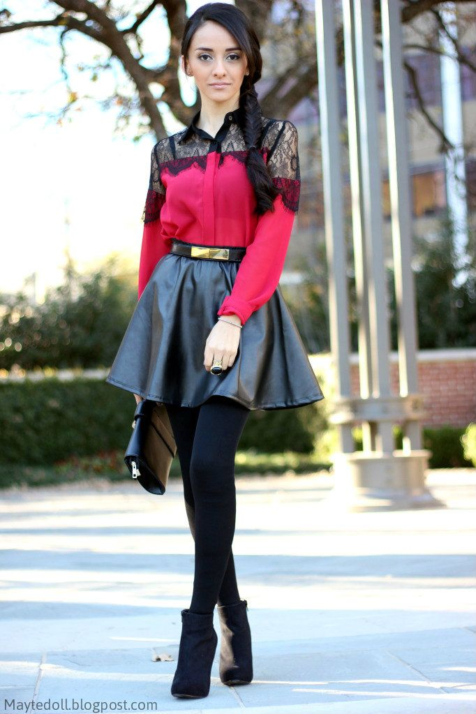 Red lace top: Collide Boutique, Faux leather skirt: Furor Moda ...