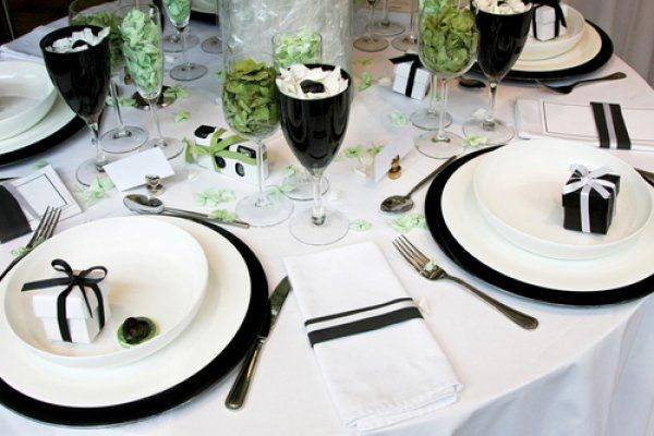 Black And White Table Setting Reception Decor Featuring Black
