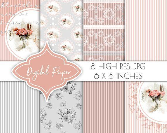 digital paper romantic blush watercolor scrapbook papers digital paper pack vintage planner clipart floral collage gift wrappingblush
