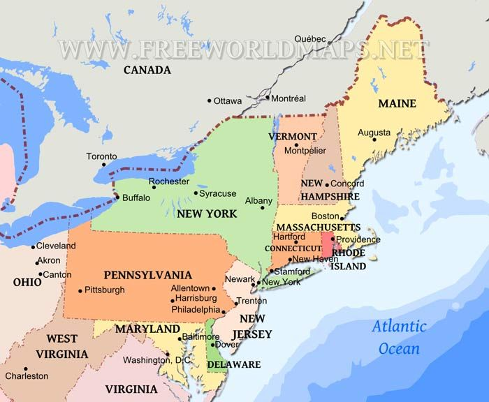 Northeastern US map New York Boston and Maine Pinterest